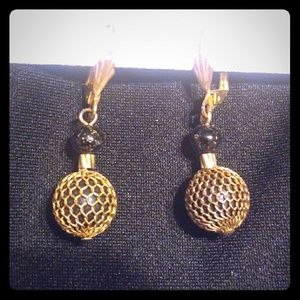Gold plated ball drop down earrings